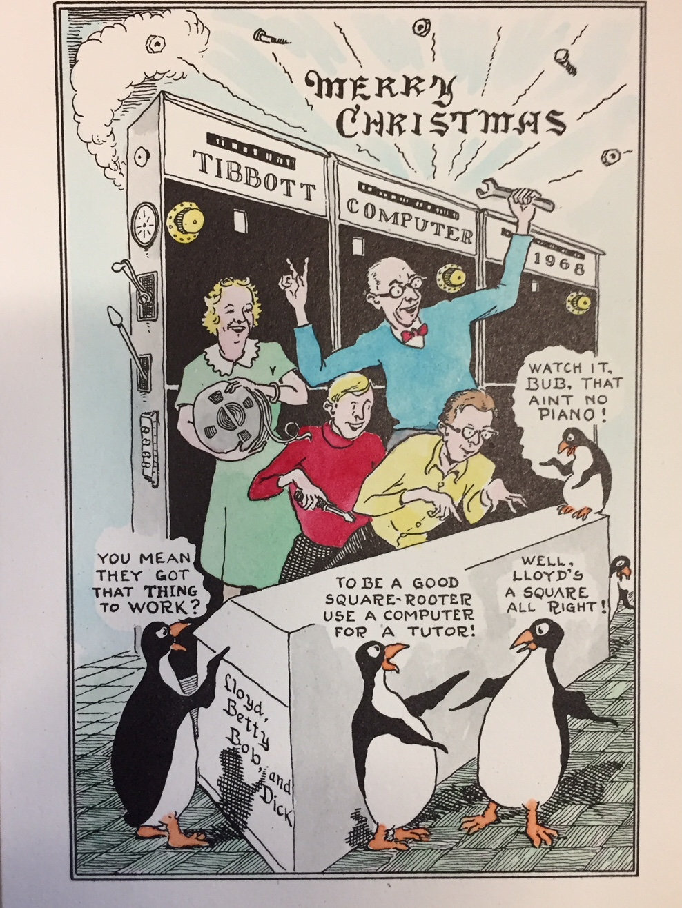 Seth's family Christmas card with penguins and drawn by his dad